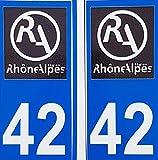 2 Aufkleber für Karosserie, selbstklebend, Nummernschild Rhône Alpes 42