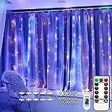 DOOK LED Lichtervorhang, 300 LEDs USB Lichterkettenvorhang 3M X 3M IP65 Wasserfest 8 Leuchtmodi LED Lichterketten mit Fernbedienung für Weihnachten Party Hochzeit Garten Schlafzimmer Innen Außen