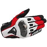 Atmungsaktive Leder Motorradhandschuhe Rennhandschuhe Herren Motocross Handschuhe - Blau, L