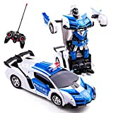 Highttoy Geburtstagsgeschenk für 5-12 Jahre alte Kinder,Polizeiauto Verwandeln Roboter Auto Fernbedienung Transformers Auto Spielzeug für Jungen Mädchen 1:18 Maßstab Verformung RC Auto Weiß