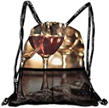 nxnx 3D Print Leisure Bundle Backpack Wine Glass Art Love Portable Drawstring Bag Travel Bag Yoga Runner Daypack Polyester Shoe Bags
