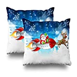 Annays Kissenbezug Weihnachtsmann Rocket Schlitten Rentier Weihnachts Cartoon Mit Home Bett Bettwäsche Einzigartige Dekoration Kissenbezug Bett 2Pc Doppelseitige Muster Sofa Kissenbezug