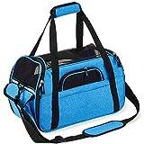 Kaka mall Transporttasche für Katzen Hunde Comfort Fluggesellschaft Zugelassen Travel Tote Weiche Seiten Tasche für Haustiere(S,Blau)