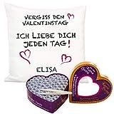 Kissen + Losbox - Vergiss den Valentinstag (mit Name, Kamasutra): Geschenkset aus Kuschelkissen und Liebesbox fr Romantik, Erotik oder Kamasutra, individuelle Personalisierung mit Name