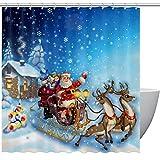 HCKZ Weihnachtsmann Schlitten mit Rentier Polyester Stoff Duschvorhang 60 x 72 Zoll, Mehltau geruchlos wasserdicht Badezimmer dekorative Bad Vorhang