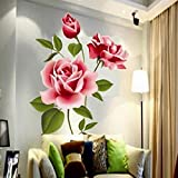 CCYUANG Wandaufkleber 3D Rose Blume Hintergrund Aufkleber Möbel Wohnzimmer TV Wanddekoration Aufkleber Home Decoration