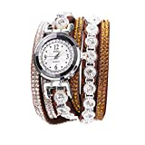 Armband Uhren Damen Armbanduhr Mädchen Weinlese Glänzende Kristallarmband Vorwahlknopf Analoge Quarz Armbanduhr LEEDY