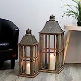 Multistore 2002 2tlg. Laternen Set H74/58cm Antikbraun - Windlicht Kerzenleuchter Kerzenhalter Gartenlaterne