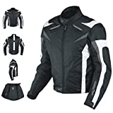 A-pro Motorcycle Jacket CE Armored Textile Motorbike Racing Thermal Liner, Schwarz-Weiß, M