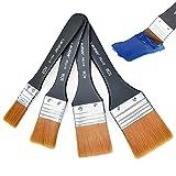 cococity Flachpinsel, 4 Stück Tools Pinselset Aquarell Acryl Malerpinsel Künstler Lackierpinsel, Premium Lasurpinsel zum Ölmalerei und Malerei (20/30/40/50mm)