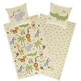 Aminata Kids Biber-Bettwäsche-Set Zoo-Tiere 135 x 200 cm + 80 x 80 cm aus Baumwolle mit YKK Reißverschluss, Kinder-Bettwäsche mit Safari-Motiv, kuschelig warm mit Giraffe, Elefant und Tiger