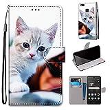 Miagon Flip PU Leder Schutzhülle für Huawei P9 Lite,Bunt Muster Hülle Brieftasche Case Cover Ständer mit Kartenfächer Trageschlaufe,Süß Katze