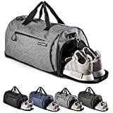 Fitgriff Sporttasche Reisetasche mit Schuhfach & Nassfach - Männer & Frauen Fitnesstasche - Tasche für Sport, Fitness, Gym - Travel Bag & Duffel Bag 48cm x 26cm x 25cm [30 Liter] (Grey, Small)