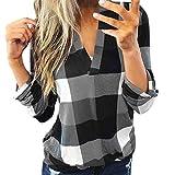 HULKY Bluse Damen Klassischer Plaid Hemd Elegant Sexy Oberteile Tops Langarmshirt Gestreift Kariert V-Ausschnitt Hemden Tunika T-Shirt(grau,L)