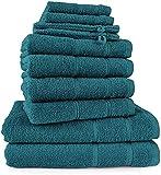 Merkanta Handtuch Set | 10 teilig | 2 Gästetücher 4 Handtücher 2 Duschtücher 2 Waschlappen | 100% Baumwolle | Badetücher | Bath Towel | Handtücherset Badezimmer | Bad Tücher (Petrol - grünblau)