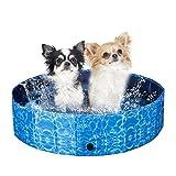 XIAPIA Hundepool für Große Hunde 160/120/80 cm mit 30/20cm Tiefe | Faltbar Hundeplanschbecken für Haustier im Sommer | Rutschefest Boden und Robust Holzfaserplatte