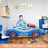 Kinderbett Autobett Pkw Polizei 160 x 80 cm Lattenrost und Matratze MDF beschichtet