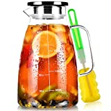 Karaffe, Aofmee Karaffe 2 liter, Glaskaraffe, Wasserkaraffe, Glaskaraffe mit Deckel, Wasserkrug mit Fruchteinsatz, Glaskrug, Wasserkaraffe mit Kühlung, Eistee Krug Saft Krug, Getränkekaraffe Glaskanne