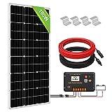 ECO-WORTHY 100 W monokristallines Solarmodulsystem-Set, 100 W Solarpanel mit 20 A Laderegler für netzunabhängige 12 V Energieladung, für Wohnmobil, Wohnwagen, Boot
