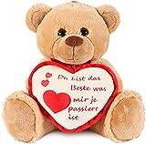 Brubaker Teddy Plüschbär mit Herz Rot Beige - Du bist das Beste was Mir je passiert ist - 35 cm - Teddybär Plüschteddy Kuscheltier Schmusetier - Braun Hellbraun