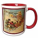 Queen54ferna Sandy Mertens Vintage Christmas Designs – Night Before Christmas Santa in Rentier gezogen Schlitten – 313 ml, zweifarbiger roter Becher
