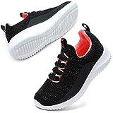 STQ Mädchen Turnschuhe Kinder Sneakers Leichtgewichts Laufschuhe Low top Atmungsaktiv Sportschuhe Schwarz Rose 34 EU