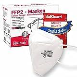 100 Stück FFP2 Masken von Dr. Family + GRATIS BullGuard Internet Security 3 User - CE Zertifiziert Mundschutz 5-lagig Maske mit versteckten Nasenbügel hygienisch verpackt