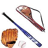 Yangzhilan Baseballschläger aus Aluminium/Holz, Baseball-Set, Baseballschläger + Baseball + Baseball-Handschuh, 99 cm, Sicherheits-Baseballschläger und Ball-Set, Selbstverteidigung, für Jugendliche und Erwachsene (blau)