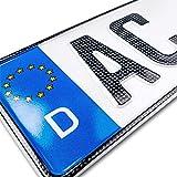 schildEVO 1 Carbon Kfz Kennzeichen | 520x110 mm | OFFIZIELL amtliche Nummernschilder | DIN-Zertifiziert – EU Wunschkennzeichen mit individueller Prägung | Autokennzeichen