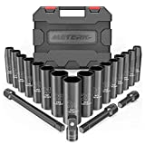 Meterk 20 PCS Schlagschrauber Nuss Satz, Impact Socket Set Steckschlüsselsatz mit 1/2'' Antrieb, 3/8'' Stecknuss Adapter, 9-24mm Sechskant Nuss und 3'', 5'', 10'' Verlängerungsstangen