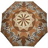 Vintage Brown Floral Mandala Auto öffnen schließen Sun Rain Umbrella