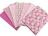 N A 7 Stück Baumwollstoff Baumwolle Patchwork 50x50cm Stoff Quadrate Nähstoffe Stoffpaket mit Muster für DIY Nähen Handwerk Deko Pink