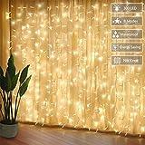 JOLVVN LED Lichtervorhang 3x3m,300 LED Innen Lichterkette Vorhang 8 Modi Lichterketten für Partydekoration spezialle Deko Beleuchtung Party Hochzeit Weihnachten