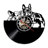 BFMBCHDJ Nettes Haustier Nettes Welpen Vinyluhr Einfache Moderne Hundeserie Rekord Wanduhr Tierform Heimtextilien A5 Keine LED 12 Zoll