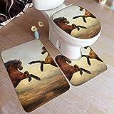 NA Badezimmer-Matten und Teppiche-Sets 3-teiliges Stehpferd-Deko-Set, weiche, rutschfeste Badezimmer-Teppiche, U-förmige Toilettenmatte, Toilettendeckelabdeckung