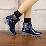 QIMITE Damen Gummistiefel, PVC, wasserdicht, Regenstiefel, atmungsaktiv, modisch, kniehoch, rutschfest, für Damen, Blau 50 Photo Color