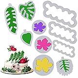 10 Stück Tropisches Blatt Ausstecher Blumen Ausstechformen Kunststoff, Werkzeug zum Ausstechen von Keksen, Plätzchenausstecher Keksformen Dekorationsform Kuchen für Kekse, Fondant, Kuchen