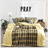 HDBUJ Home Textile Bedding Set of 3, Brown Checkered Down Duvet Cover and Two Matching Pillowcases