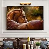 YuanMinglu Modernes kreatives abstraktes Pferdeölgemäldeplakat und Wandkunst auf Leinwandkunstbilddekoration Wohnzimmerdekoration rahmenlose Malerei 30x45cm
