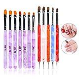 ANGNYA 12 PCS Nägel Pinsel UV-Gel Pinselset Gel & Acryl Nägel Nailart Gelnägel Pinsel Stifte Dotting Tool Kit für Nail Art Design Malerei Detaillierung