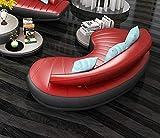 LKU Sofa 2 Stück 3 SitzLounge von 1 Set Moderne Leder weißes Sofa Set für Wohnzimmer, Bogen Lounge