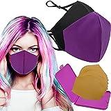 Cussi - Wiederverwendbare Hygienische Stoffmaske, zertifiziert UNE 0065:20 und BFE zertifiziert 99 %, waschbar bis zu 20 Zyklen – Packung mit 2 Masken, Etui, extra Filter (lila, schwarz).