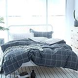 Unimall Renforcé Bettwäsche Set 2 Teilige 135 x 200 cm + 80x80 cm aus 100% Baumwolle Wende kariert Grau