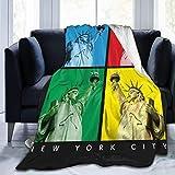 Pinakoli New York Freiheitsstatue Bild Fleece Decke Twin Size Flanell Plsch berwurf Decke flauschig weiche Decke Mikrofaser fr Couch Sofa Bett 152,4 x 127 cm, Baumwollmischung, Schwarz, 50'x40'