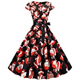 Overdose Damen Partykleid A-Linie Ballon Abendkleid Cocktailkleid Ballkleid Weihnachts Karneval Party Rockabilly Faltenrock Festlicheskleid Evening Party Knielang Swing Kleider Prom Dress