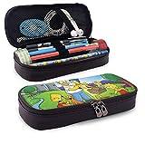 Die Simpsons Federmäppchen für Erwachsene und Studenten Buggy-Tasche Reißverschluss Leder-Federtasche Make-up-Tasche für Bleistift-Kugelschreiber-Marker.
