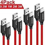 USB Typ C Kabel, GIANAC[4-Pack 0.3M 1M 2M 3M ] 3A Nylon geflochten USB C Ladekabel und Datenkabel Fast Charge Sync schnellladekabel fr Samsung S10/S9/S8+, Huawei P30/P20/P10,Google Pixel, Xperia XZ