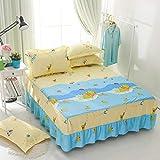 HNLHLY Baumwolldruck Einteiliger Bettüberwurf-Baumwollkarikatur-Bett-Rock, 1PCS-N_180 * 200cm