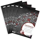 Landre Collegeblock A4 kariert mit Rand, 80 Blatt, rot, 5er Pack