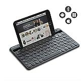 Jelly Comb Kabellose Tastatur, Bluetooth Funktastatur mit Dual-Kanal für Android/Windows Tablet, iOS iPad, Smartphone, Handy, Mac OS, QWERTZ Deutsches Layout, Schwarz